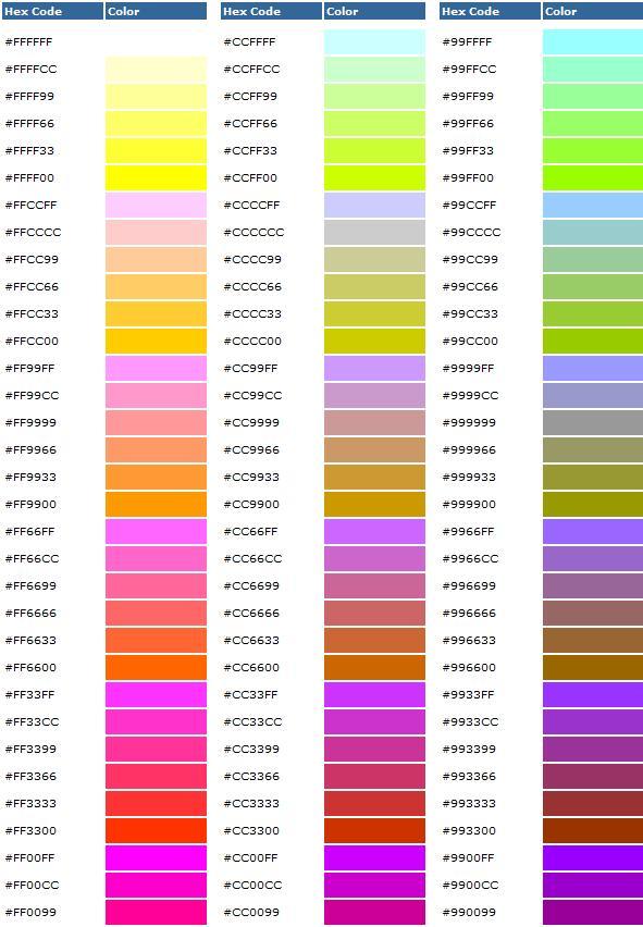 Hex Codes Color Hueys Web Designs